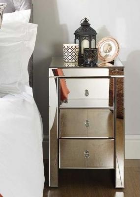 Belfast Mirrored 3 Drawer Bedside Cabinet