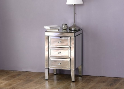 Coventry Mirrored 3 Drawer Bedside Cabinet