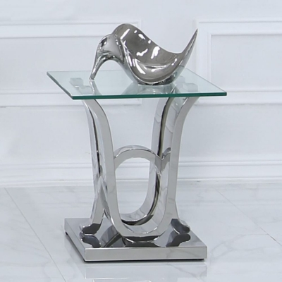 Abey Glass and Chrome Lamp Table