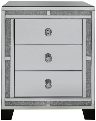 Acme Mirrored 3 Drawer Bedside Cabinet