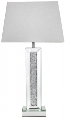 Acme Mirrored Pillar Lamp with White Shade