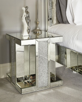 Acme Mirrored Square End Table