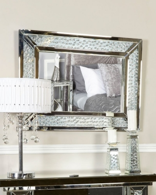 Arielle Floating Crystal Rectangular Wall Mirror
