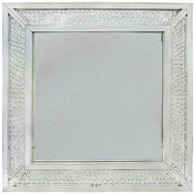 Arielle Floating Crystal Square Wall Mirror