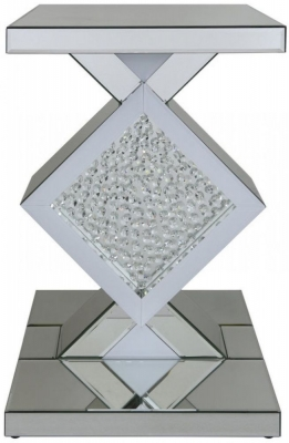Arielle Mirrored Diamond End Table