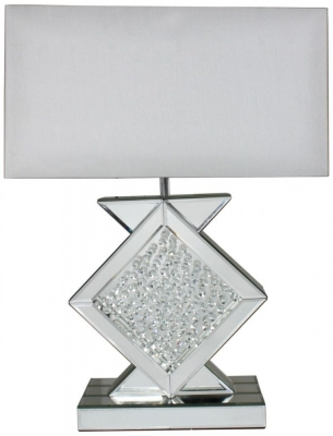 Arielle Mirrored Diamond Shape Medium Table Lamp