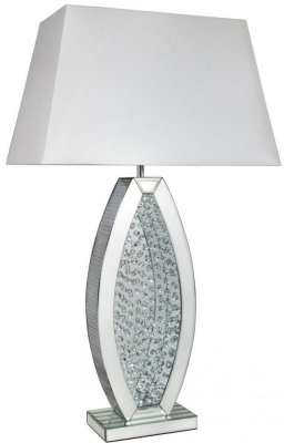 Arielle Mirrored White Oval Shape Medium Table Lamp