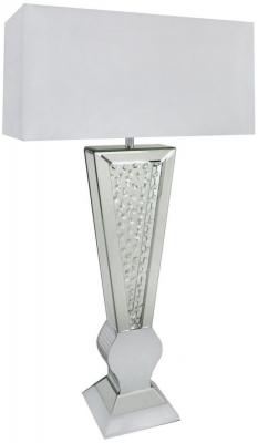 Arielle Mirrored White V Shape Table Lamp