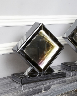 Avalon Smoked Mirrored Rainbow LED Diamond Small Table Lamp