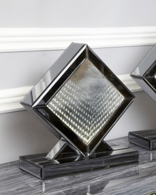 Avalon Smoked Mirrored White LED Diamond Small Table Lamp