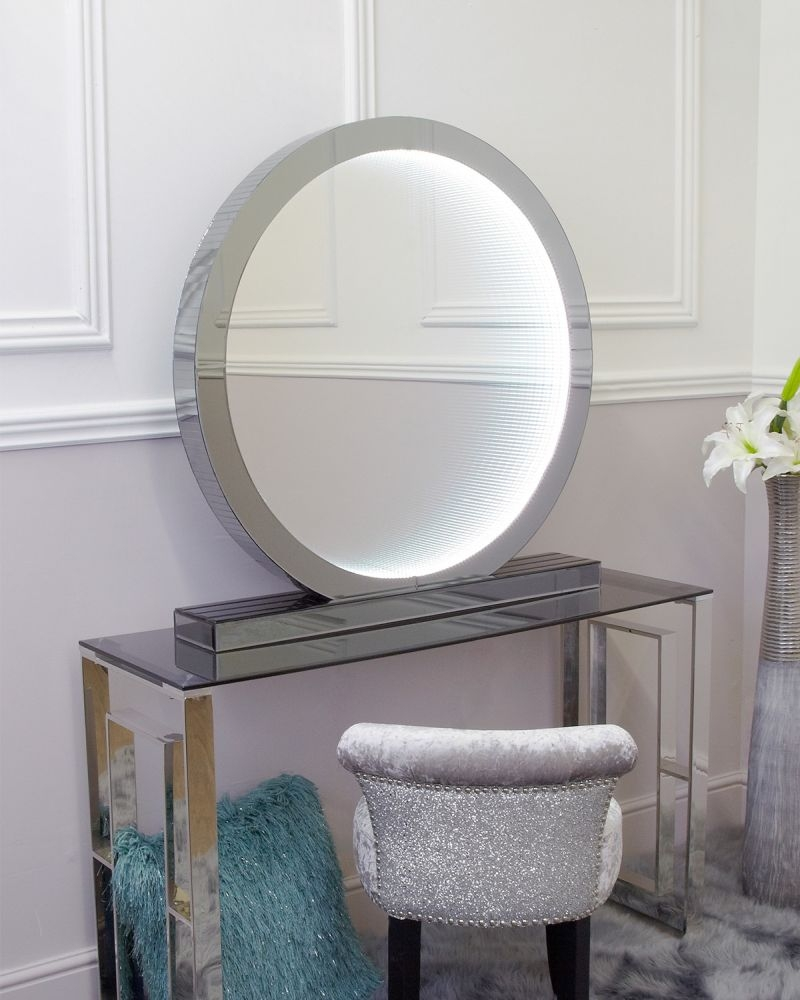 Avalon Smoked Mirrored Large Round Table Lamp
