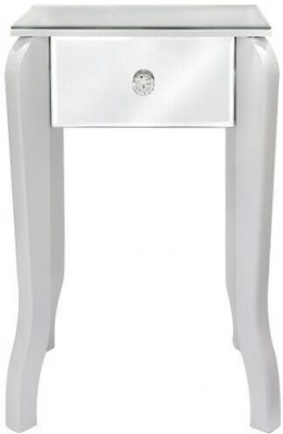 Bayside White Mirrored Small Lamp Table