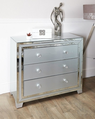 Boston Grey Mirrored 3 Drawer Chest