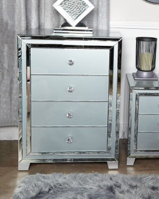 Boston Grey Mirrored 4 Drawer Cabinet