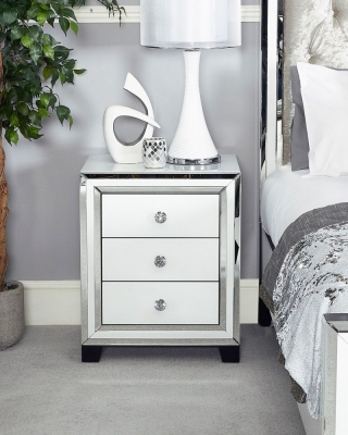 Boston Mirrored White Bedside Cabinet