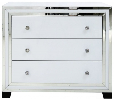 Boston White Mirrored 3 Drawer Chest