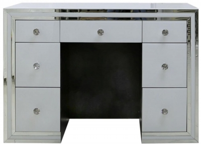 Boston White Mirrored 7 Drawer Dressing Table