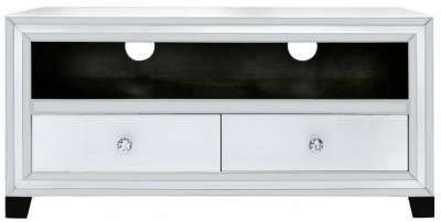 Boston White Mirrored Entertainment Unit