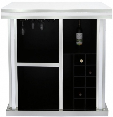 Boston White Mirrored Wine Bar Cabinet