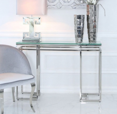 Carolyn Chrome and Glass Console Table