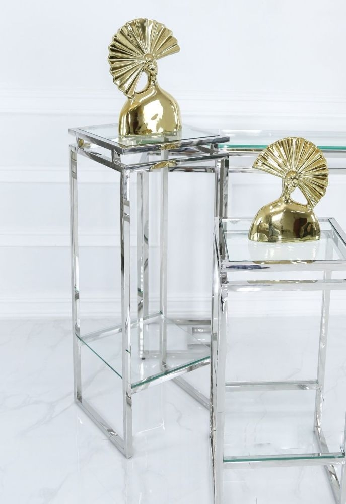 Carolyn Chrome and Glass Lamp Table