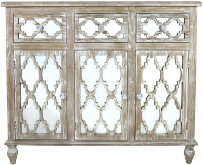 Catalina Beach Mirrored 3 Door Cabinet