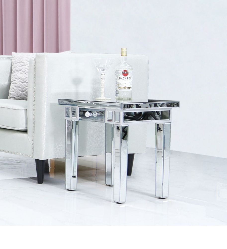 Charlotte Mirrored Lamp Table