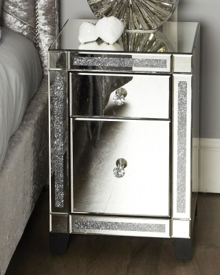 Chesapeake Gunmetal Mirrored Bedside Cabinet (Set of 2)