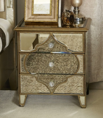 Durham Antique Mirrored Bedside Cabinet
