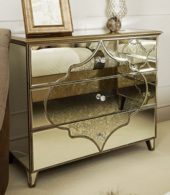 Durham Antique Mirrored Large Cabinet