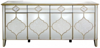 Durham Mirrored 4 Door 4 Drawer Sideboard