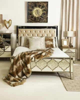 Durham Mirrored King Size Bed Frame