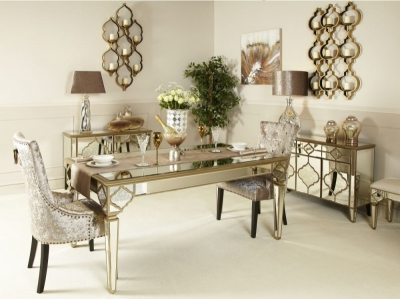 Durham Mirrored Rectangular Dining Table - 180cm