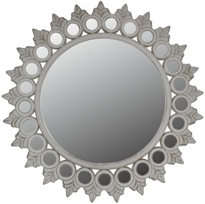 Durham White Antique Sunburst Wall Mirror