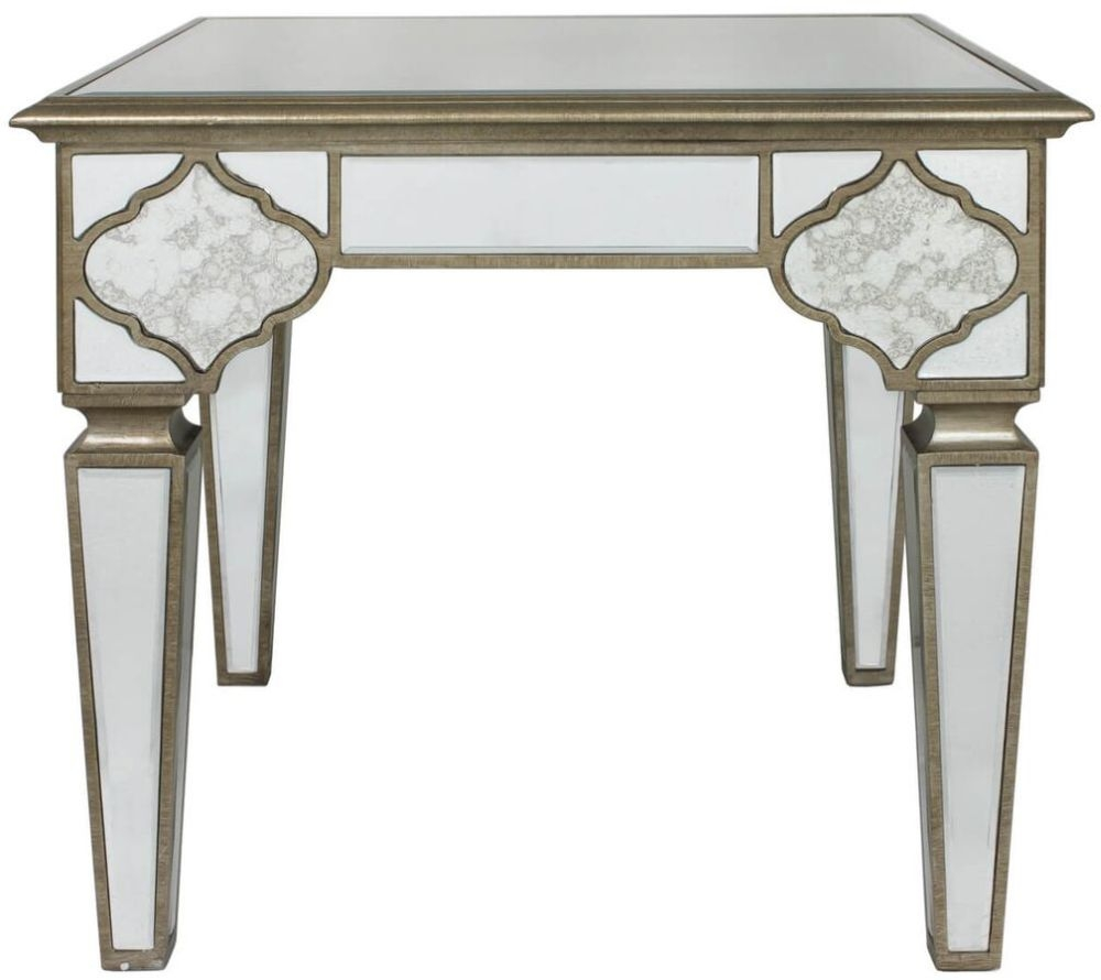 Durham Antique Frosted Mirrored End Table