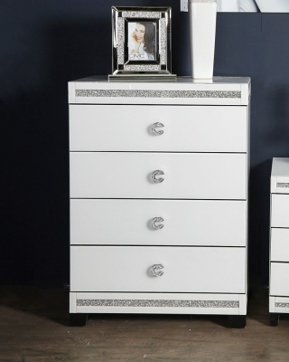Easton White Mirrored 4 Drawer Chest