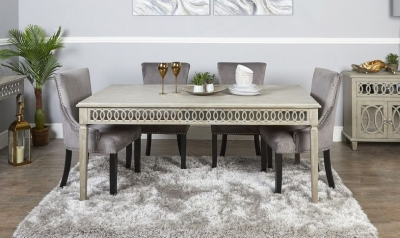 Farrah Mirrored 160cm Rectangular Dining Set with 6 Grey Knocker Black Chairs