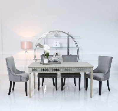 Farrah Mirrored 180cm Rectangular Dining Set with 6 Grey Knocker Black Chairs