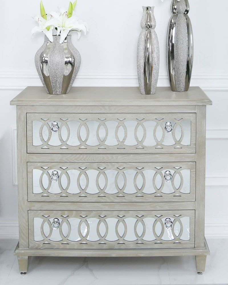 Farrah Mirrored 3 Drawer Chest