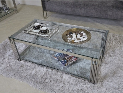 Gloria Chrome and Glass Coffee Table