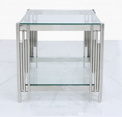 Gloria Chrome and Glass Lamp Table