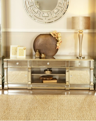 Grayton Champagne Mirrored Narrow Entertainment Unit