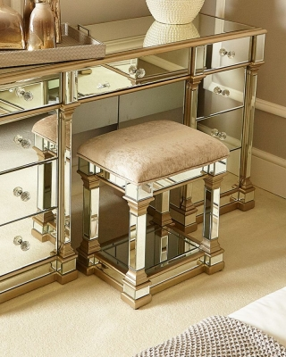 Grayton Champagne Mirrored Padded Stool