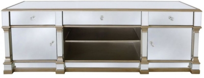 Grayton Champagne Mirrored Wide Entertainment Unit