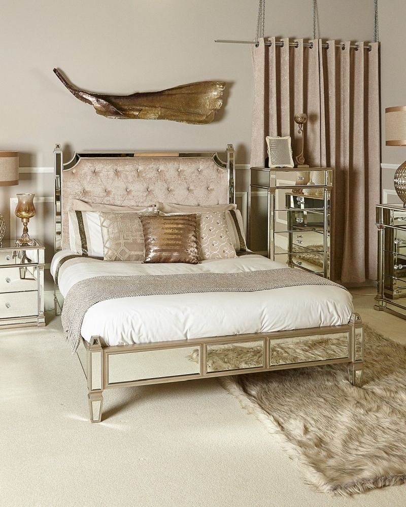 Grayton Champagne Mirrored 5ft King Size Bed