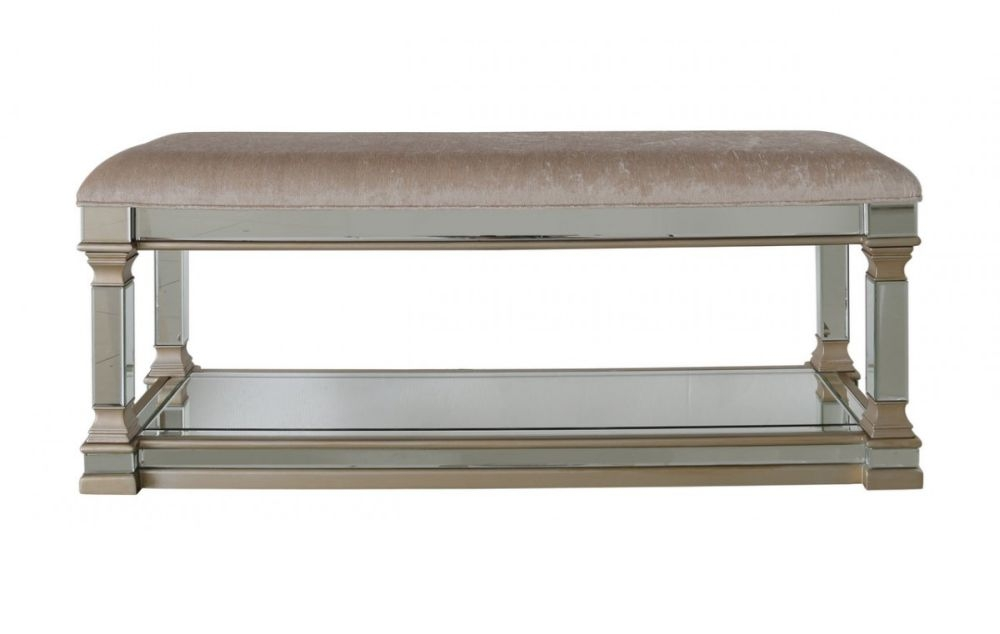 Grayton Champagne Mirrored Padded Bench