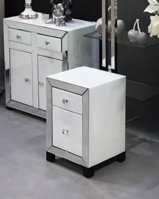 Leo White and Clear Mirrored Bedside Cabinet