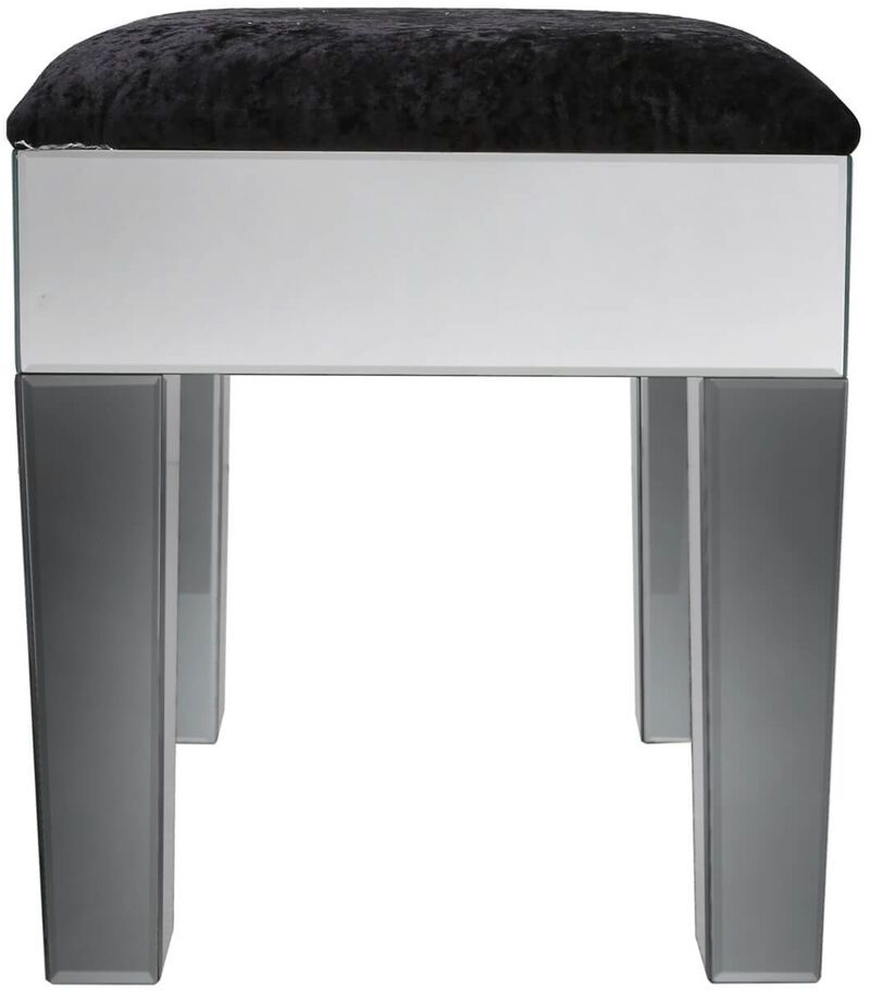 Leo Smoked and Clear Mirrored Dressing Stool