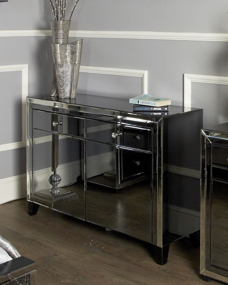 Leo Smoked and Clear Mirrored Sideboard