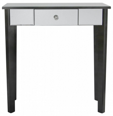 Lulu Mirrored Black 1 Drawer Console Table
